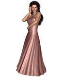 Mujer en vestido de noche rosado ilustración del vector
