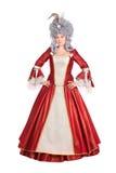 Mujer en vestido rojo de la reina Fotografía de archivo libre de regalías