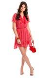 Mujer en vestido rojo del verano Imagen de archivo libre de regalías