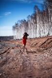 Mujer en vestido rojo en bosque Fotografía de archivo