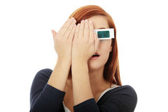 Mujer en vidrios del cine 3d Fotos de archivo libres de regalías