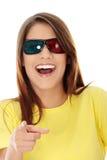 Mujer en vidrios del cine 3d Imagen de archivo libre de regalías