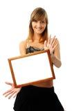Mujer encantadora con el marco Foto de archivo