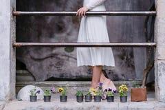 Mujer encantadora de la novia que camina abajo de la calle Belleza, manera Imagenes de archivo