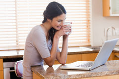 Mujer encantadora que usa una computadora portátil imagenes de archivo