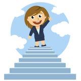 Mujer encima de una escalera stock de ilustración