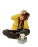 Mujer enferma con dolor de cabeza Fotografía de archivo