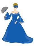 Mujer enmascarada vestida azul Foto de archivo libre de regalías