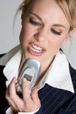 Mujer enojada del teléfono Imagen de archivo