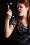 Mujer enojada del teléfono Imagen de archivo libre de regalías