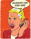 Mujer enojada en estilo del cómic Fotografía de archivo