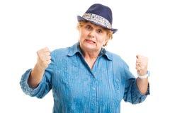Mujer envejecida centro - frustración Foto de archivo libre de regalías