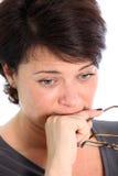 Mujer envejecida media preocupante Fotografía de archivo libre de regalías
