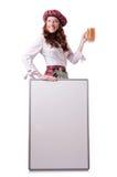 Mujer escocesa con el tablero Imagenes de archivo