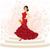 Mujer española del flamenco ilustración del vector