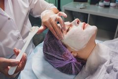 Mujer europea hermosa que tiene procedimiento facial de la piel aplicando una m?scara blanca del rejuvenecimiento del cosmetologi fotografía de archivo