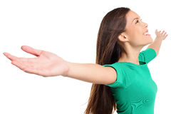 Mujer exaltada feliz libre con los brazos hacia fuera aumentados para arriba Fotos de archivo