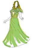 Mujer exhausta en vestido verde Imagenes de archivo