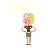 mujer experimental retra de la historieta con la burbuja del discurso Fotografía de archivo