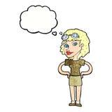 mujer experimental retra de la historieta con la burbuja del pensamiento Imagenes de archivo