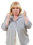 Mujer explosivo enojada Imagen de archivo libre de regalías