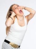 Mujer expresiva en primeros tiempos del embarazo b Imagenes de archivo