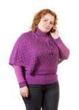 Mujer fea que habla por el móvil Fotos de archivo