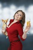 Mujer feliz con champán Imagen de archivo libre de regalías
