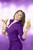 Mujer feliz con champán Fotos de archivo libres de regalías