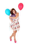 Mujer feliz con el balloon& x27; s Fotos de archivo libres de regalías