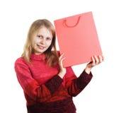 Mujer feliz con el bolso de compras Fotos de archivo libres de regalías
