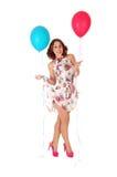 Mujer feliz con el globo Imagen de archivo libre de regalías