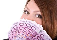 Mujer feliz con el grupo de dinero. Imagen de archivo libre de regalías