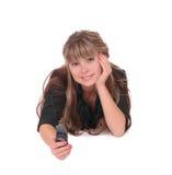Mujer feliz con el móvil Fotografía de archivo
