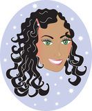 Mujer feliz con el pelo ondulado rizado. Fotografía de archivo