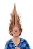 Mujer feliz con el pelo para arriba Fotos de archivo libres de regalías