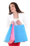 Mujer feliz con el sueño de los bolsos de compras Fotografía de archivo