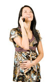 Mujer feliz con el teléfono móvil imagen de archivo