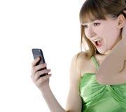 Mujer feliz con el teléfono celular Fotografía de archivo libre de regalías