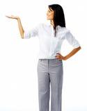 Mujer feliz con la palma abierta fotografía de archivo