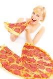 Mujer feliz con la pizza Imagen de archivo libre de regalías