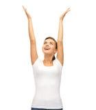 Mujer feliz con las manos para arriba Fotos de archivo