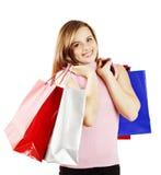 Mujer feliz con los bolsos de compras Imagen de archivo