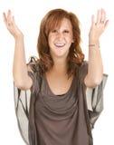Mujer feliz con los brazos para arriba Imágenes de archivo libres de regalías