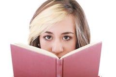Mujer feliz con un libro Imagen de archivo