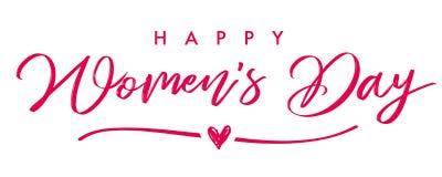 Mujer feliz día bandera elegante de la caligrafía del 8 de marzo ilustración del vector