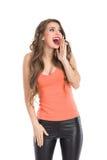 Mujer feliz de grito Imagenes de archivo