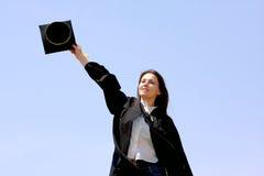 Mujer feliz de la graduación Imagen de archivo