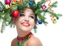 Mujer feliz de la Navidad Imagenes de archivo