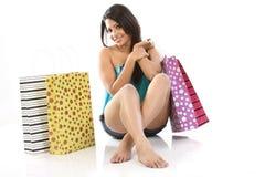 Mujer feliz de las compras Imagen de archivo libre de regalías